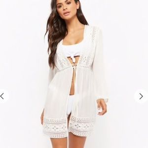 NWT white sheer chiffon embroidered cover up M